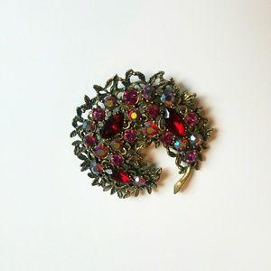 VTG 1960s Emmons Brutalist Crescent Floral Brooch